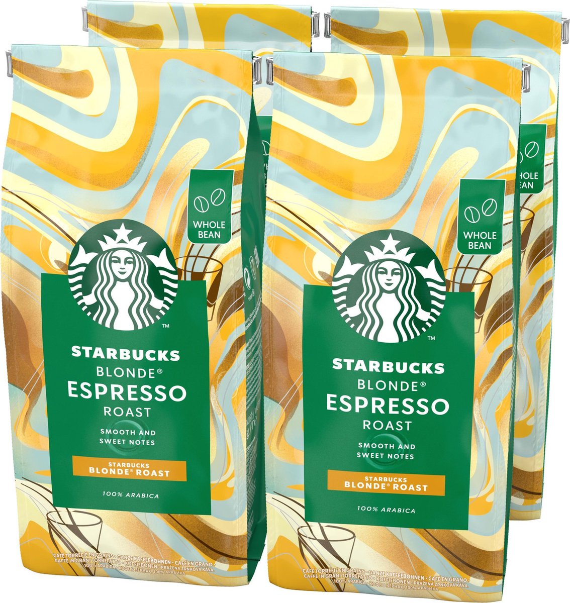 Starbucks Blonde Espresso Roast koffie - koffiebonen - 4 zakken à 450 gram