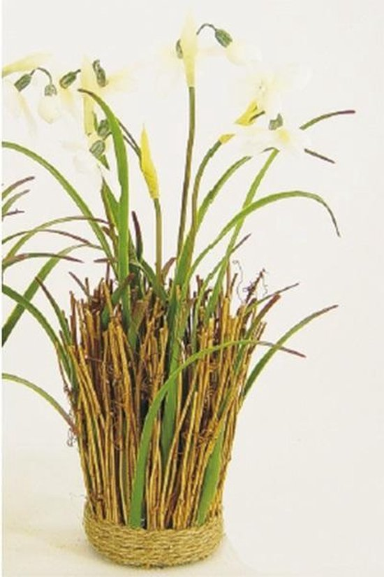 Kunstplant - Kunstbloem - Sneeuwklokje - Takjes - Gebonden met touw - 25 x 7 cm - In cadeauverpakking met gekleurd lint