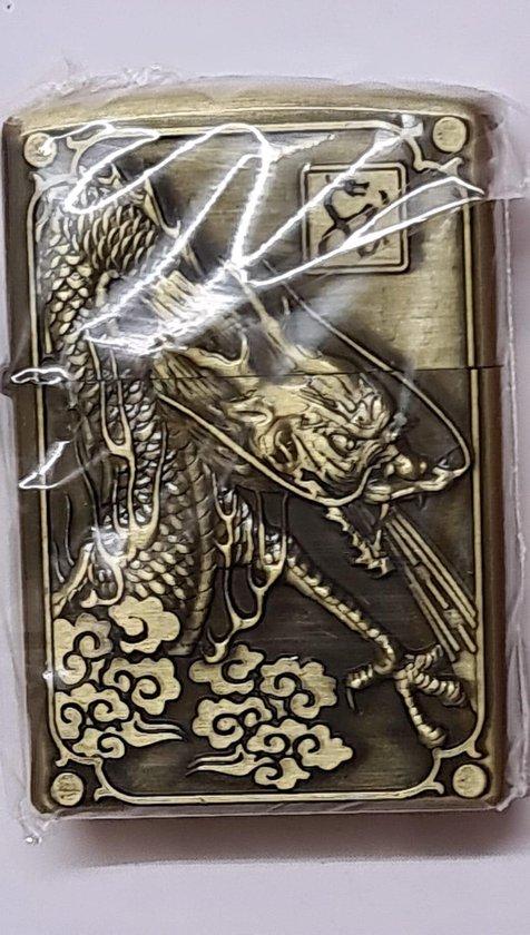 Aansteker benzine -brushed brass - (model zippo) Draak no 2
