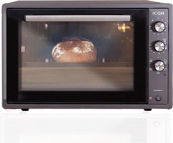 ICQN XXL Vrijstaande Hetelucht Oven - 60 Liter - Geëmailleerde interieur - Dubbel glas - Antraciet