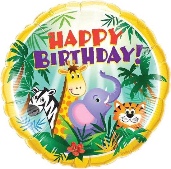 Folieballon - Happy birthday - Jungle vriendjes - 45cm