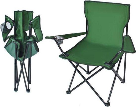 Multifunctionele Visstoeltje Opvouwbaar Met Rugleuning - Camping Klapstoel / Vouwstoel, Strandstoel met Opslagbox Groen