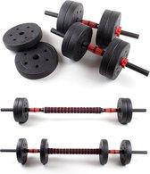 Dumbbellset 24 kg met halterstang - Dumbbells verstelbaar - Halterset - Fitness gewichten set - Rood/zwart