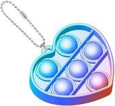 Pop it sleutelhanger - fidget toys - speelgoed - jongens - meisjes - hartje regenboog