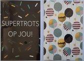 Geslaagd + Supertrots op jou! - 2 Wenskaarten – 12 x 17 cm