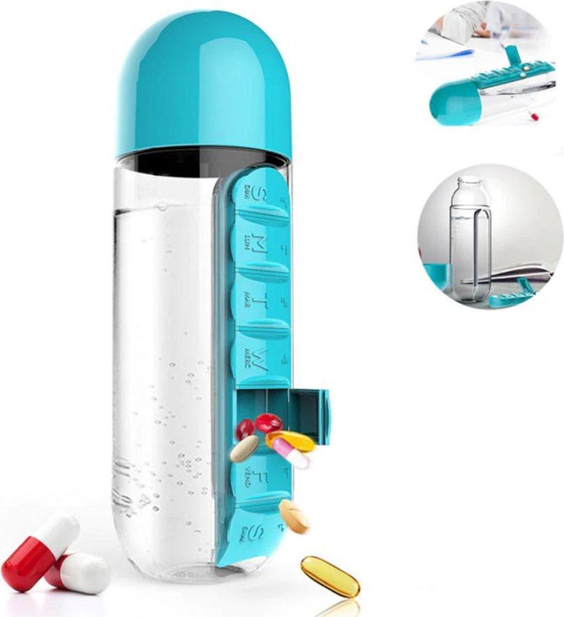 Waterfles met ingebouwde pillendoos Pillenfles Medicatiefles 600ml inhoud / Blauw / HaverCo