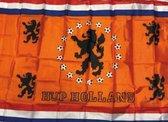 Oranje vlag hup holland hup maat L / EK 2020 - EK voetbal 2021 / oranje decoratie / oranje feestartikelen / oranje decoratie / 100 x 70cm / oranje versiering