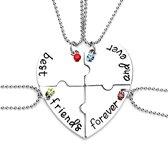 Vriendschapsketting - bff ketting voor 4 - bff ketting - best friends - best friends ketting - 4 stuks - Hart met steentjes