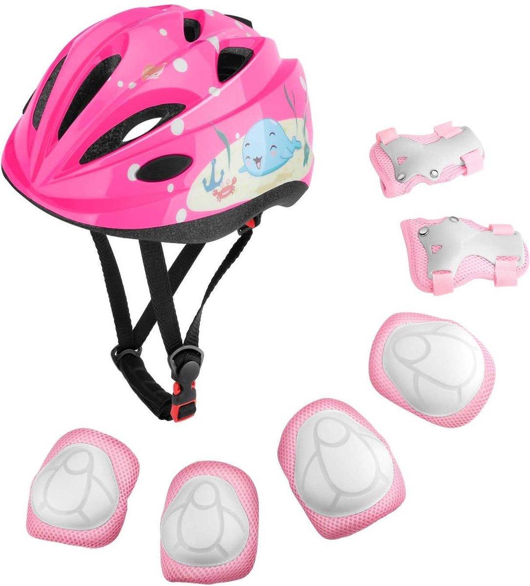 Beschermingsset voor kinderen, verstelbare helm, kniebeschermers, elleboogbeschermers, polsbeschermers voor skateboarden, inline scooter, schaatsen, wielrennen, fietsen, BMX, fiets, scooter voor jongens en meisjes