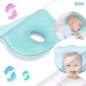 Baby Kussen Plat Hoofd - Slaapondersteuning Hoofdkussen - 0-12 Maanden - Orthopedisch - Moederdag - Kraampakket - Kraamcadeau - Blauw