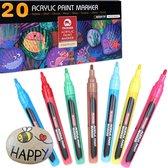 Afbeelding van HappyStone Acryl marker stiften 20 kleuren - 2 mm - inclusief Sjablonen - Acrylverf - Tekenset - Mandala - Acrylstiften voor stenen schilderen - Happy Stones beschilderen maken