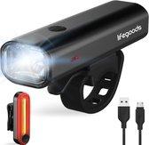 LifeGoods LED Fietsverlichting Set - Voorlicht en Achterlicht - USB Oplaadbaar - Zwart