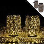 Gadgy Solar Lantaarn Oosters – Set van 2 - zwart/goud – metaal - Solar tuinverlichting op zonneenergie – Led buitenverlichting met dag/nacht sensor – Tafellamp / Hanglamp / Tuinlantaarn - 22 x Ø 14 cm