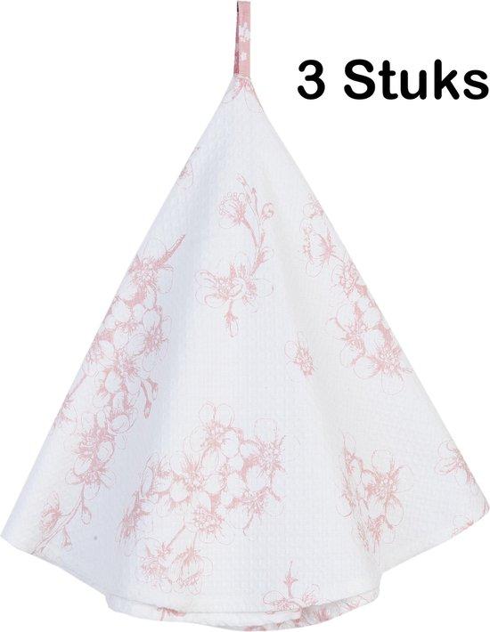Katoenen Keukendoek - Theedoek - Blossom Flowers - Oudroze - Ø 80 - 3 Stuks