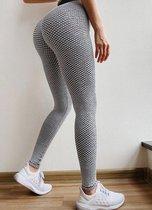 TikTok Legging - Dames - Butt lifting - TikTok broek - TikTok Yogapants - Grijs/wit - Maat Large