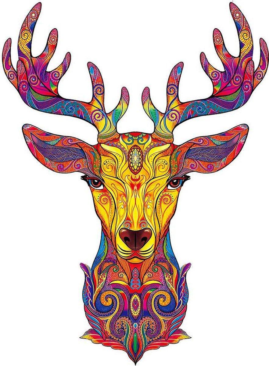 Houten jigsaw puzzel | Dierenfiguur puzzel | Houten dieren Puzzel | Educatieve puzzel | Decoratief | Houten Legpuzzel | Wooden Animal Jigsaw Puzzle | Breinbreker | A4 | Hert