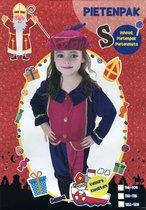 Pietenpak – Velours - Kind – Meisjes - 3 delig - maat 98-104 – Paars / Roze
