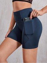 Korte high waist sport legging dames gekleurd met zak| SHEIN | marine blauw | dames yoga fitness | maat XL