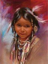 TOPMO - Indiaanse meisje portret - Diamond painting- Diamond DOTZ- HQ Diamond Painting pakket - VOLLEDIG dekkend - Diamant Schilderen - voor Volwassenen – ROND- 40X50CM