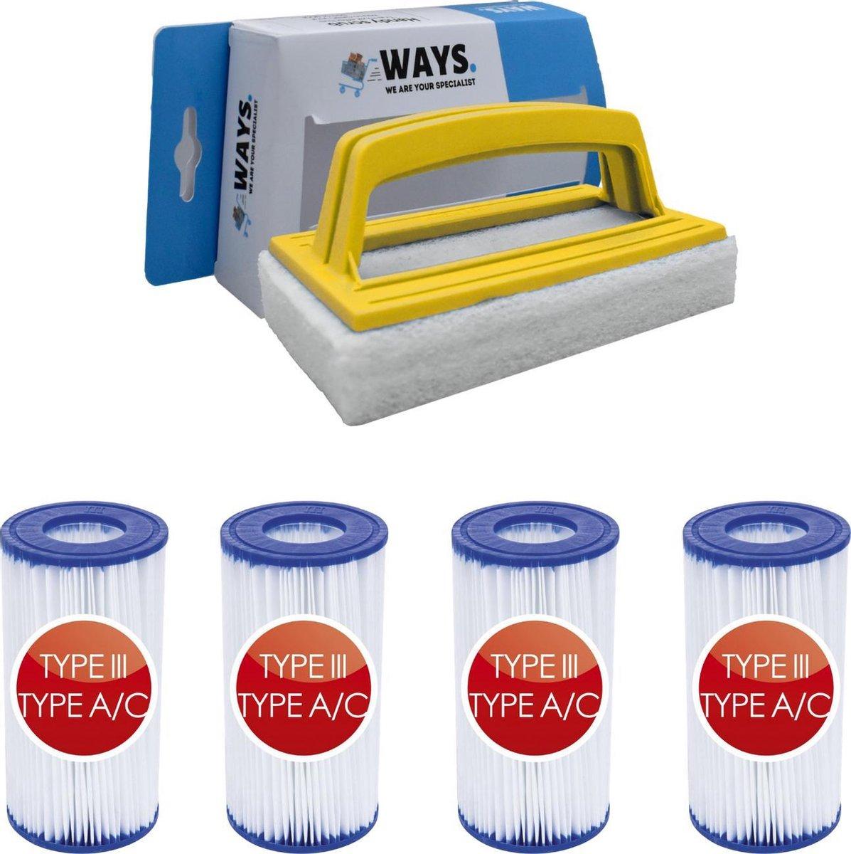 Bestway - Type III filters geschikt voor filterpomp 58389 - 4 stuks & WAYS scrubborstel