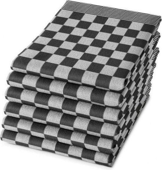 THEEDOEKEN - Set van 6 Stuks  - 100% KATOEN - 65x65cm - Zwart Wit - Sneldrogend - Horecakwaliteit - Geblokt - Droomtextiel
