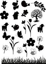 Raamsticker Lente - herbruikbare sticker - statisch folie - lente - seizoenen