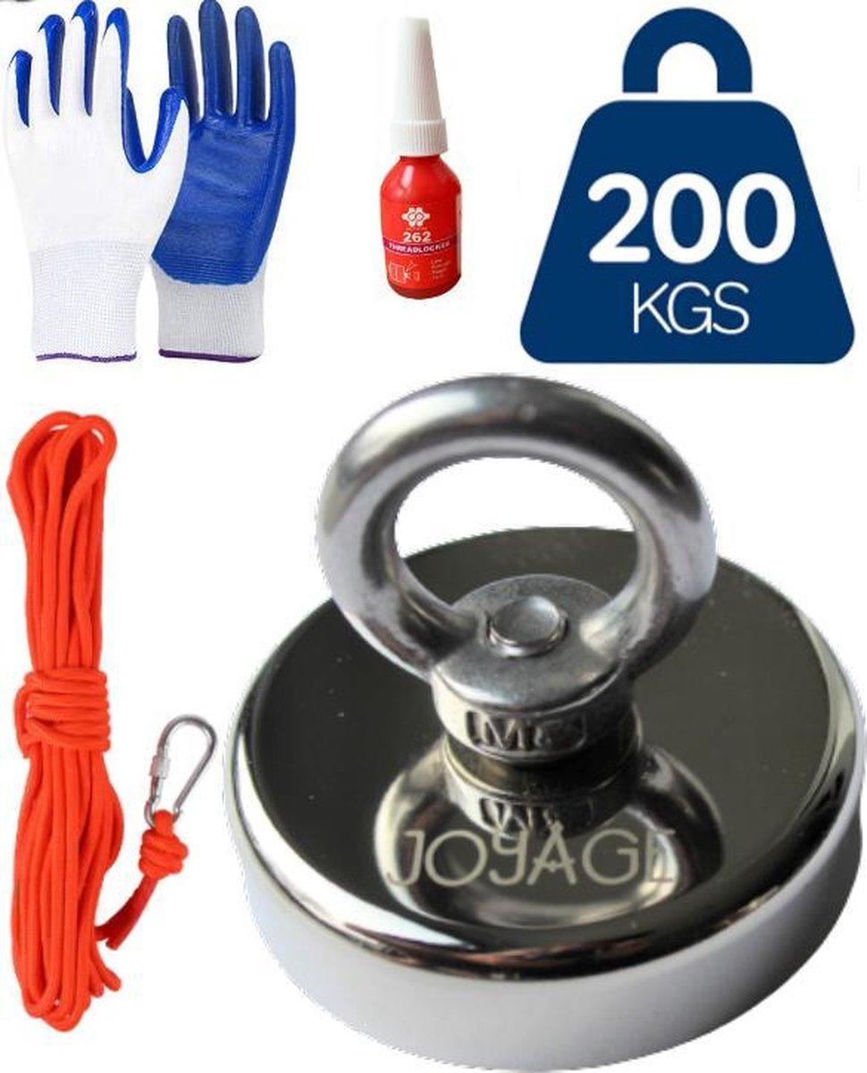 Vismagneet set - Magneetvissen Set   Magneet Vissen - 200 kg trekkracht   Touw m t Musketon - Handsc