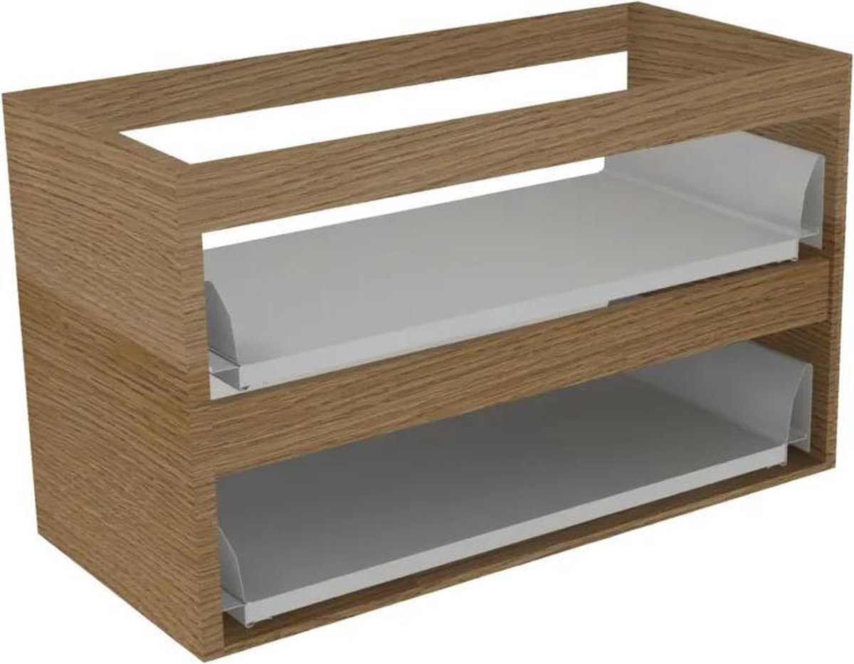 Sub 16 wastafelonderkast met 2 lades zonder fronten 70 x 52 cm, hout eiken