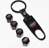 Audi ventieldopjes + sleutelhanger in cadeau-verpakking voor de Audi liefhebber.