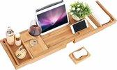 EQS Luxe Bamboe Badrek Uitschuifbaar - Bamboo Brug Verstelbaar - Badkuip Plank voor in Bad met Boekenhouder/Tablethouder – 72 tot 108 cm – Bamboe Hout