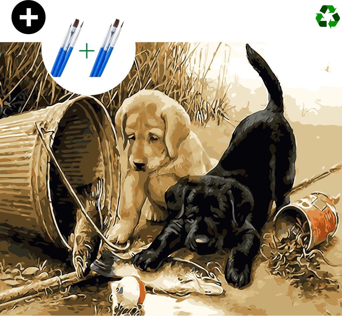 deeds.® - Schilderen op nummer volwassenen - Paint by number - Verven op nummer - Hond - Dieren - DIY set +Extra Penselen!