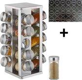 Pleasant Work Kruidenrek inclusief stickers – kruidenrek - kruidenrek draaibaar – kruidenrek staand - Spice rack – Kruidencarrousel - kruidenrek 20 potjes - kruiden etiketten - kruidenmolen - keuken accessoires