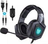 K8 Gaming Headset met microfoon | PS4 | PC | XBOX ONE | PS5 | 4D Audio met AUX & USB Kabel | Headsets - Zwart