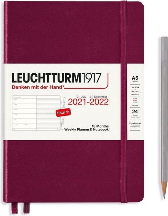 Afbeelding van Leuchtturm - Agenda en Notities - 2021-2022 - Weekplanner - 18 maanden - A5 - 14,5 x 21 cm - Hardcover - Bordeaux Rood