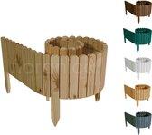 Floranica® Rollborder | Flexibele houten omheining | Onbehandeld dennenhout | hoogte 20cm | lengte 203cm (kan worden ingekort) | 4 maten | perkrand | gazonrand | palissade | perkafscheiding | groente en bloementuinen, bloembakken