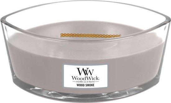 Woodwick Heartwick Flame Ellipse Geurkaars – Wood Smoke