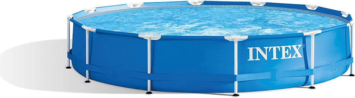 Intex Family Lounge Zwembad | Zwembaden | Rond | Kinderen | Volwassenen | Familiezwembad | 12 Personen | XXL | Metalen frame | Blauw | 366 x 76 cm