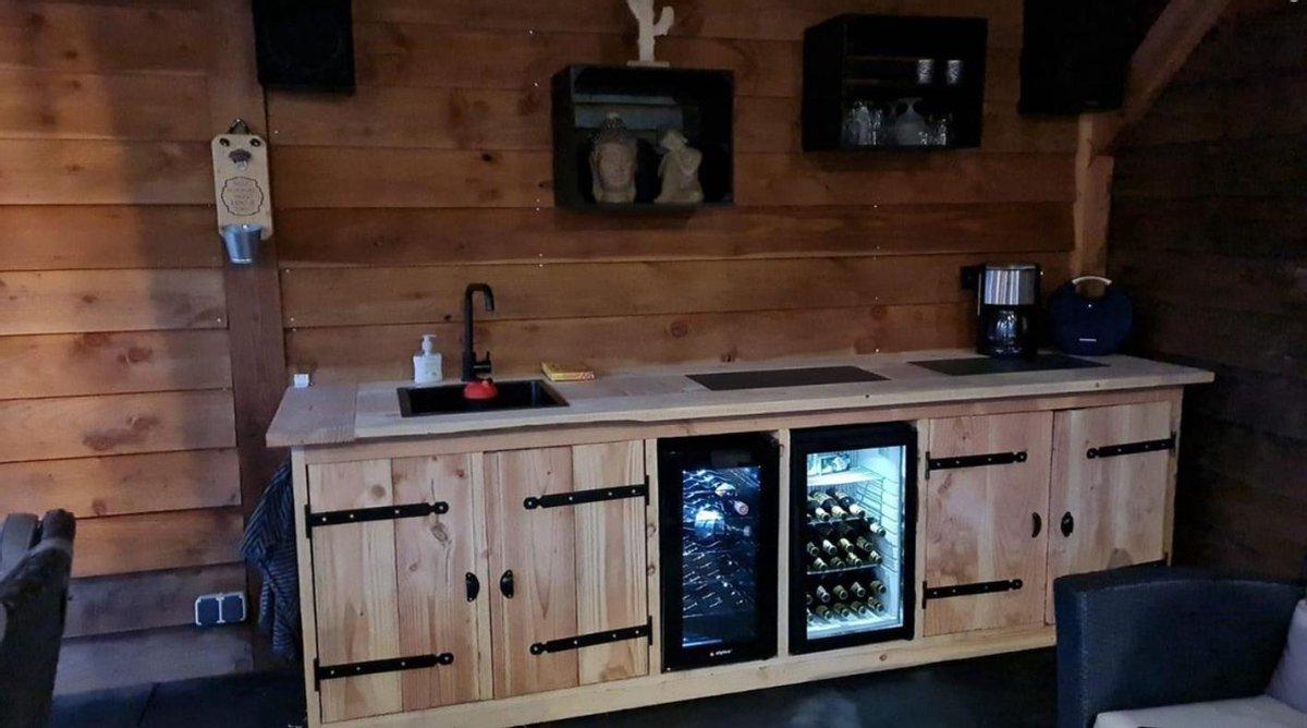 Buitenkeuken - Miami - Koelkast 68 liter - Wijnkoeling 50 liter - Douglas hout