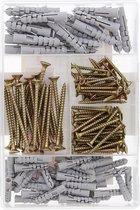 Schroeven en pluggen set - Schroeven - Hoog Kwaliteit Set van 150 stuks schroeven en pluggen set - Verschillende formaten - kruiskop - platte schroeven pluggen en schroevenbox