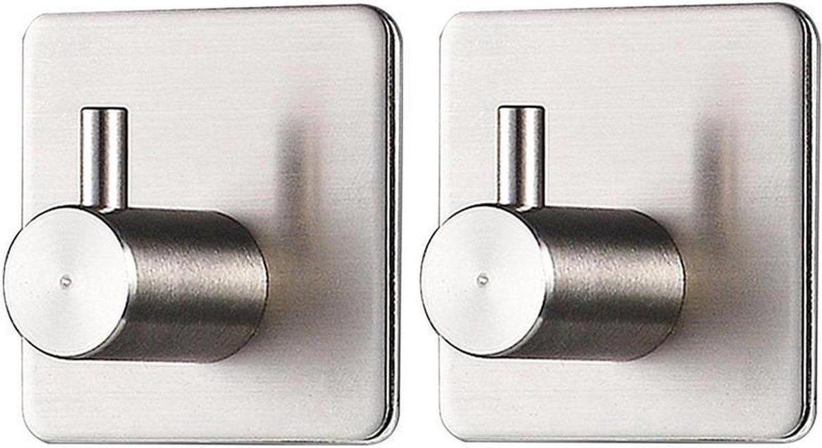 Moderne Handdoekhaakjes (Zelfklevend) RVS Zilver - Zelfklevende Haakjes - Wandhaak - Ophanghaken - Voor Keuken & Badkamer of Toilet - 2 Stuks