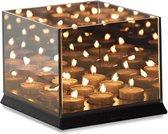 Lifa Living Kaarsenhouder voor 9 kaarsen - met glas - vierkant