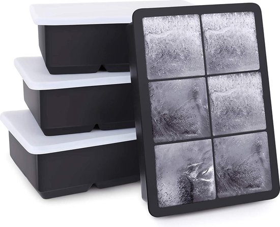 Buxibo - Luxe IJsblokvormen -  Set van 4 - Ice Cube Tray -  6 IJsblokken – IJsblokjes vorm met Deksel - Siliconen - Zwart