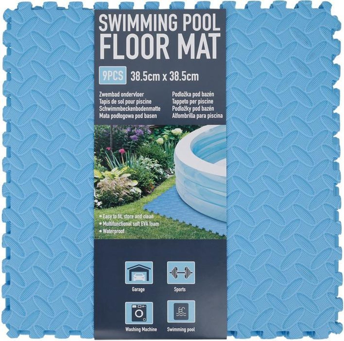 Zwembad tegels - Bodem bescherming - Ondertegels - Ondervloer - Ondergrond - Foam tegels - Matten - Puzzelmat voor zwembad - zwembadtegels 9 Stuks 38,5 x 38,5 Cm