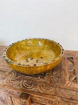 Tamegroute opdienschaal| Geel| Marokkaanse Aardewerk| Slakom diameter 29 cm