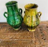 Tamegroute kruik | Groen | Marokkaanse Aardewerk Pot Groen|Tamegroute Vaas