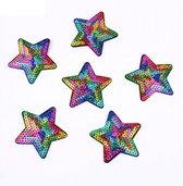 Strijk embleem 'Sterren Regenboog patch set (5)' – stof & strijk applicatie