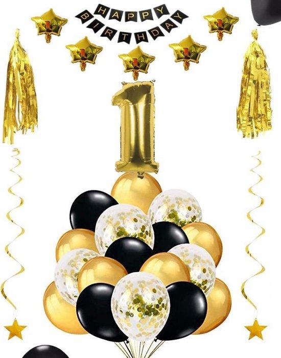 1 jaar verjaardag feest pakket Versiering Ballonnen voor feest 1 jaar. Ballonnen slingers sterren opblaasbaar cijfer 1.
