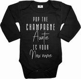 Zwangerschapsaankondiging rompertje voor tante-Pop the champagne Auntie is your new name-wit-zwart-Maat 62