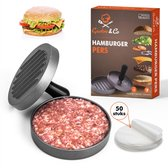 Gastro & Co Hamburgerpers - Inclusief 50 Waxpapiertje - Roestvrij Stalen Hamburger Pers met Non-stick Zinken Coating Antiaanbaklaag - 11,7 cm Diameter