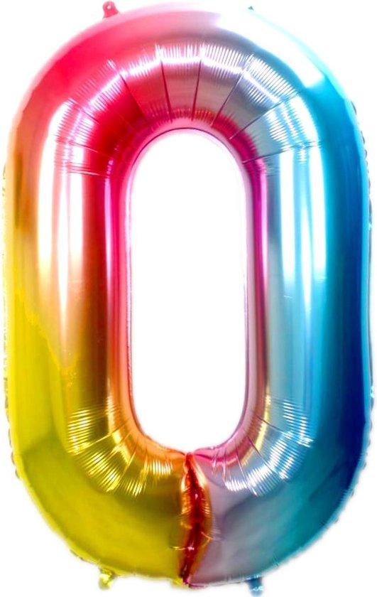 Folie Ballon Cijfer 0 Jaar Regenboog 36Cm Verjaardag Folieballon Met Rietje